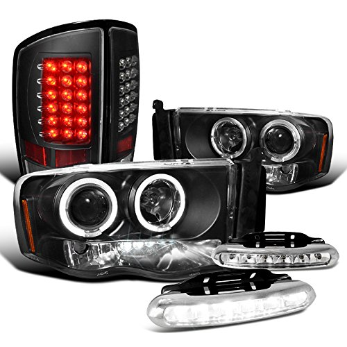 Dodge Ram, Black Halo Projector Headlights, Black LED Tail Lights, LED DRL Set (02 Dodge Ram Halo Headlights compare prices)
