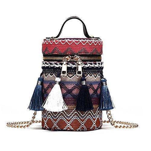 Sac à main en bambou,yunt sac fourre-tout tissé à la main sac fourre-tout paille sac de demi-lune pour les femmes, sac à bandoulière Strass sac à bandoulière voyage sac bandoulière Blue