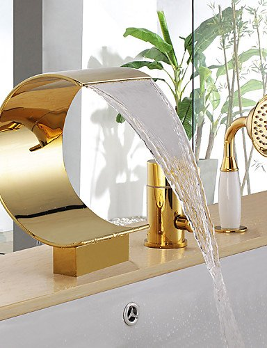 Muirfield Single Handle (Antique Ti-PVD Three Holes Single Handle Waterfall Bathtub Faucet with Hand Shower)