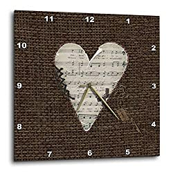 3dRose Beverly Turner Heart Design - Image of Music Note Heart Shape, Lock and Key on Chain, Burlap Design - 15x15 Wall Clock (DPP_304947_3)