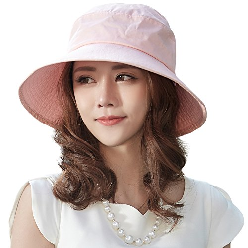 Siggi Bucket Beach Summer Sun Hat Cap with Neck Cord Brim UPF 50+ for Women Pink