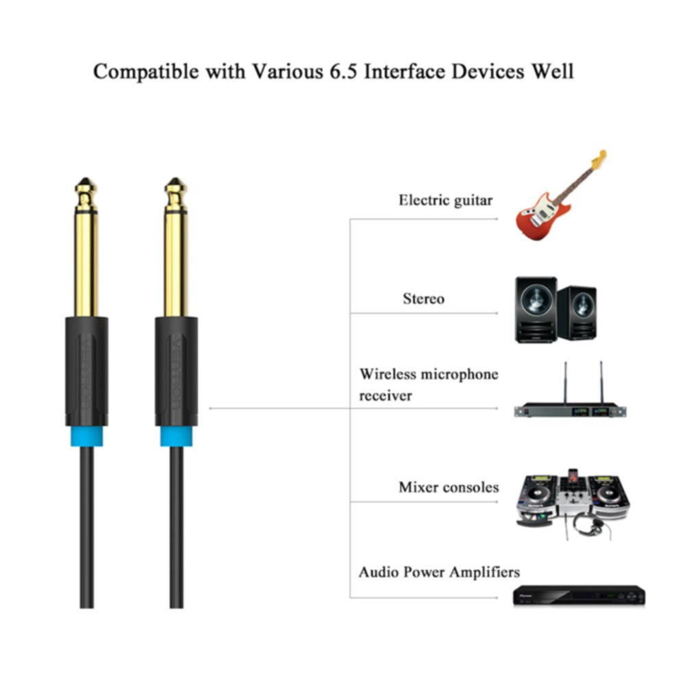 Vention Aux Guitar Mono Jack 1 4 Ts Cable 635mm To Audio Wiring
