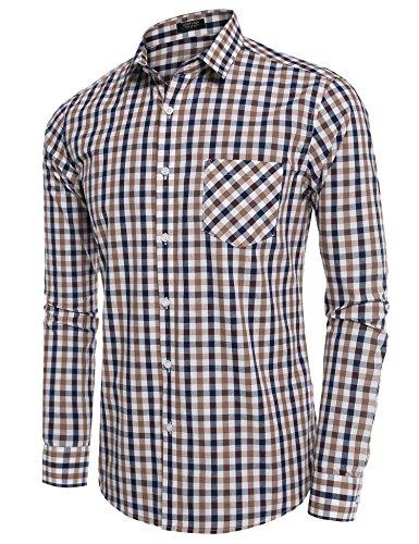 Coofandy Hombre Para Marrón Casual Camisa rpzZ6r