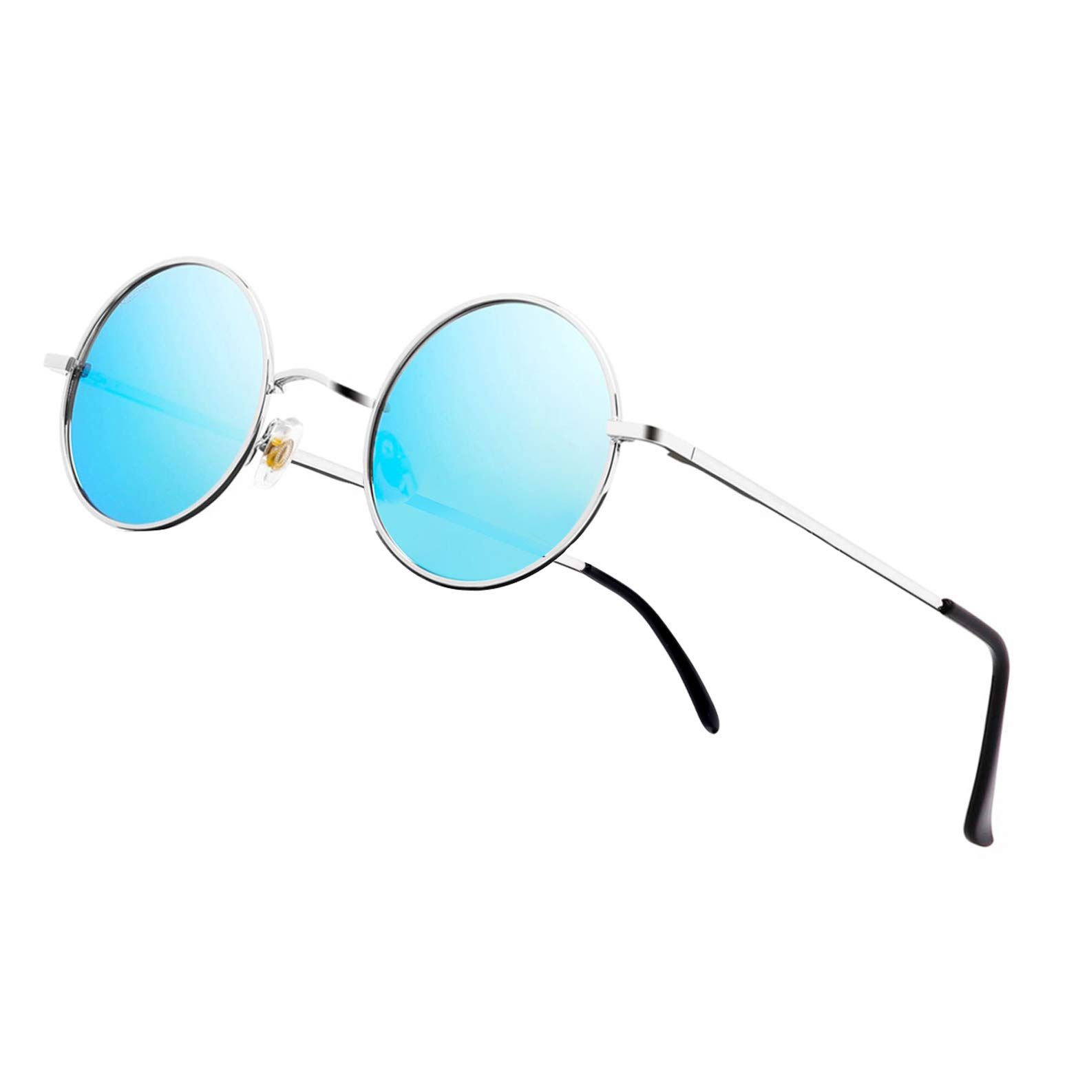 NIEEPA John Lennon Vintage Round Polarized Hippie Sunglasses Small Circle Metal Driving Sun Glasses (Blue Lens/Silver Frame) by NIEEPA