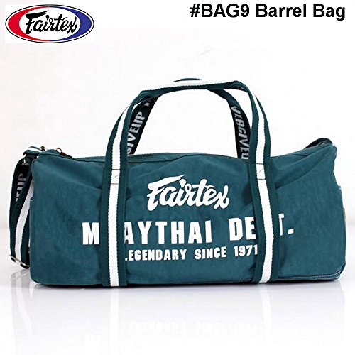 Fairtex BAG9 Barrel Bag Duffel Carry Exercise Fitness Gym Boxing Muay Thai MMA Travel Accessories Equipment Vintage Green Color by Bangplee_Sport