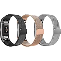 Bands for Fitbit Charge 2, SailFar 3 Pack Magnetic Clasp Mesh Loop Milanese Stainless Steel Metal Bracelet Strap/Watch Band for Fitbit Charge 2, Men/Women, Gold, Silver, Black, Small