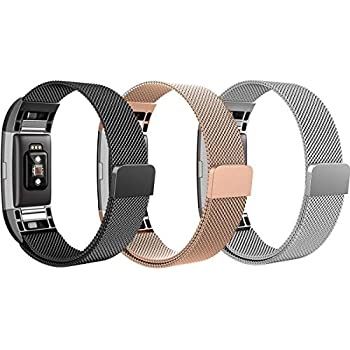 Bands for Fitbit Charge 2, SailFar 3 Pack Magnetic Clasp Mesh Loop Milanese Stainless Steel Metal Bracelet Strap/Watch Band for Fitbit Charge 2, Men/Women, ...