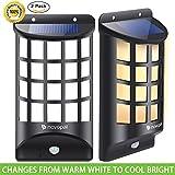Novopal Solar Lights Outdoor, LED Motion Sensor Weatherproof Solar Powered Security Wall Light for Garden/Porch/ Yard/ Deck, Wide Angle Arc-Shaped Lattice Design -2 Packs
