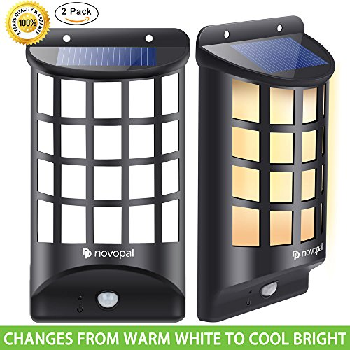 Novopal Solar Lights Outdoor, Motion Sensor Weatherproof LED Solar Lights Powered Security Wall ...