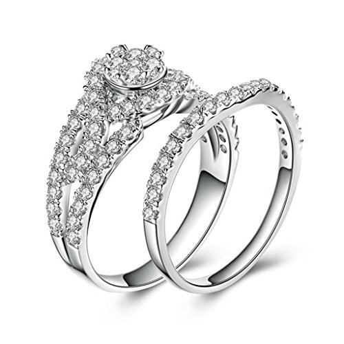 - MoAndy Simple Engagement Rings for Women 925 Sterling Silver Ring, Stacking Ring Round White Cz Sz 7