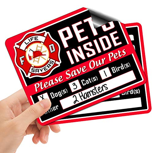 Emergency Pet Rescue Sticker - Signs Authority 5-Pack Stylish Pet Rescue Stickers Decals for House Windows Doors | 5