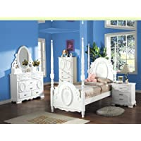 Flora White Finish Twin Post Bed 5-Pc Set by Acme