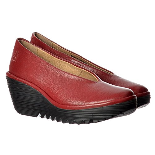 Shoe School Ladies Black Yaz Fly Cordoba Work Red Wedge Sole Heel Court Red Cordoba Toe Cleated London Round Low Women's fEEwZv8q