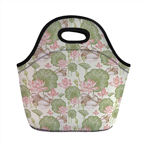 (Portable Bento Lunch Bag,Duck,Mandarin Ducklings in Lake Flowers Lilies Vintage Print River Country Nature,Pink Green and White,for Kids Adult Thermal Insulated Tote)