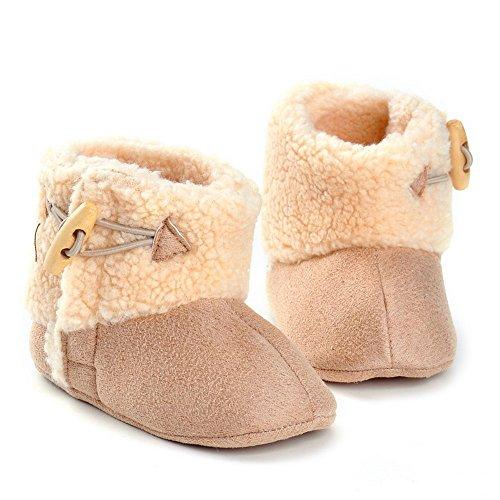 Estamico bebé botón forro polar botas de invierno caqui Talla:12-18 meses marrón