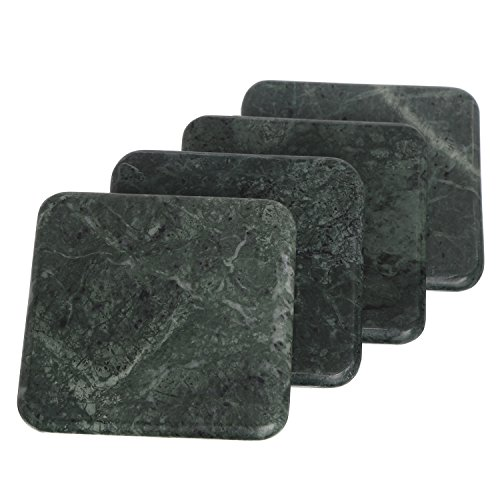 Square Shape Marble Stone Tea Coasters Set Of 4 Size- 4X4X0.75 Inch For Drink Cocktail Coffee Dinning Table- Artisan Crafted In India (Jade Green) (Jade Coaster)