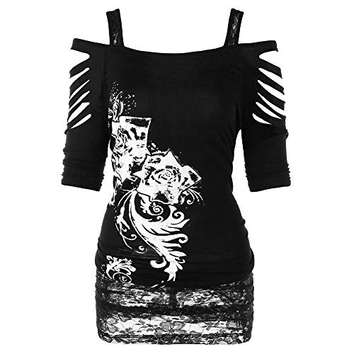 Blouse for Women,Milimieyik Women's Short Sleeve Punk Print T-Shirt Dress Sexy Hole Mini Casual Tops Tee Black