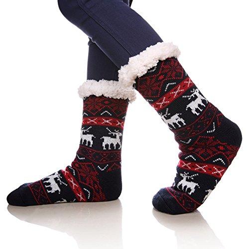 SDBING Women's Warm Cozy Fuzzy Fleece-lined Knee Highs Winter Christmas gift Slipper socks (Black and Red)