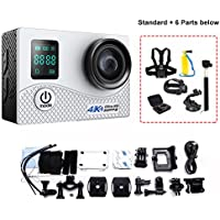 Mengshen 2 Screen 2.0 Inch Action Camera, Real 4K Ultra HD Waterproof Sport WiFi Cam with 16MP 170 Degree Wide Angle for Outdoor Activities (Include 6 Extra Accessories) K1BS White