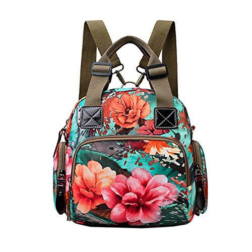Womens Nylon Crossbody Bag Fashion Flower Printing Shoulder Purse Leisure Travel Bag Handbags Multi Purpose Mummy Backpack