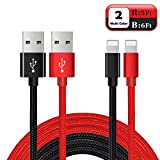 Charger for iPhone, Lightning Cable 2PACK 5FT 6FT, Lightning to USB Cable for iPhone Long Durable Nylon Braided Charging Cord for iPhone X 8 8 Plus 7 7 Plus 6 6 Plus iPad Mini Air Pro, iPod Black Red