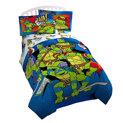 Nickelodeon Teenage Mutant Ninja Turtles Retro Reversible 'Bam/Kapow' Twin/Full Reversible Comforter