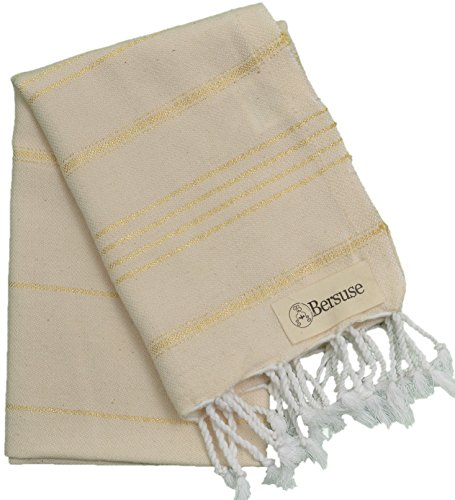 Gold Winter Rectangular Pool Cover - Bersuse 100% Cotton - Anatolia Hand Turkish Towel Pestemal - Baby Care Kitchen Tea Dish Washcloth - Travel Gym Head Hair Face Peshtemal - Classic Striped - 22X35 Inches, Natural Gold