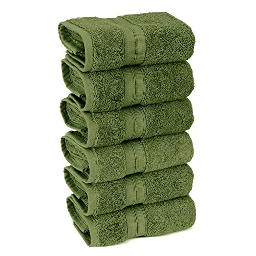 Hand Bright Green (6-Piece Turkish Cotton Double Border Hand Towel Set - Eco Friendly, 6 Hand Towels by Turkuoise Turkish Towel (Moss, Set of 6))