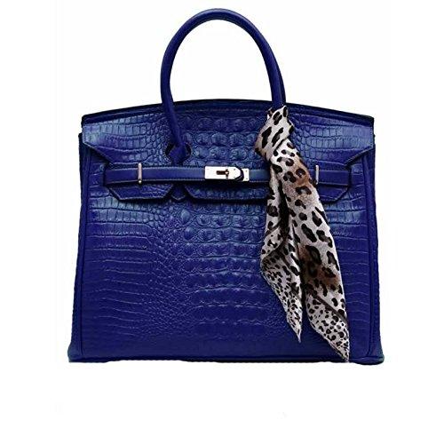 Damen Tier Drucken Schal Imitat Croc Klappe Mode Handtasche (16