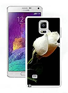 Samsung Galaxy Note 4 Pure White Rose In Dark White Screen Phone Case Personalized and Popular Design