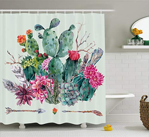 Garden Blossoms Pink Bouquet - Ambesonne Cactus Shower Curtain, Spring Garden with Boho Style Bouquet of Thorny Plants Blossoms Arrows Feathers, Cloth Fabric Bathroom Decor Set with Hooks, 84