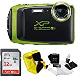 FujiFilm FinePix XP130 Rugged Waterproof WiFi Digital Camera + Focus Floating Strap & Sony 32GB Card Bundle (Lime Green)
