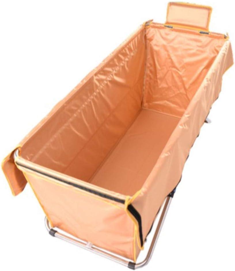 ZH1 Piscinas hinchables Bañera Plegable, baño Adulto Baño Barril Piscina Infantil Bañera Desmontable Espesar Cuerpo de Acero Inoxidable, 130x56x52cm (Color : Oro)