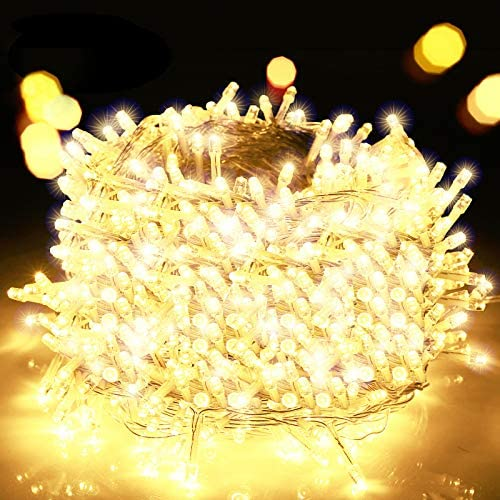 Decute 800 LED Christmas Lights 262ft Indoor Outdoor String Lights Warm White with 8 Lighting Modes, UL Certified Fairy Lights Plug in Twinkle Lights for Wedding Party Christmas Tree Room Decoration