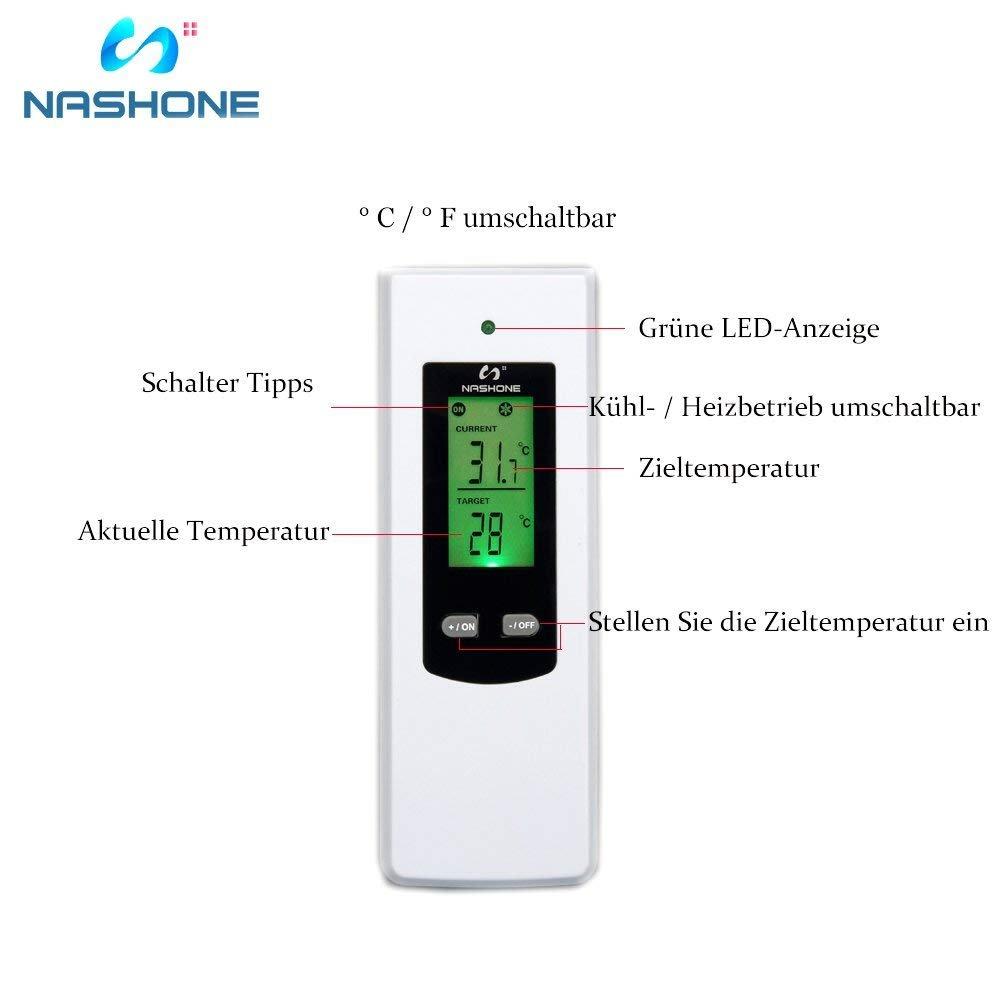 nashone Digital RF Wireless Termostato Conector, con mando a distancia incorporado Sensor de Temperatura inalámbrico Termostato de la UE enchufe Calefacción ...