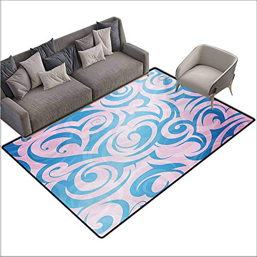 Children's Rug Navy and Blush Abstract Pattern with Tribal Curls Artistic Floral Curves Swirls Non-Slip Backing W70 xL94 Pale Blue Pale Pink