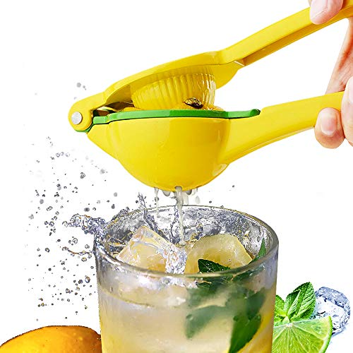 Lemon Citrus Squeezer Juicer Manual - 2 in 1 Lime Juicer Hand Citrus Press Juicer - Premium Quality Kitchen Tool, Yellow