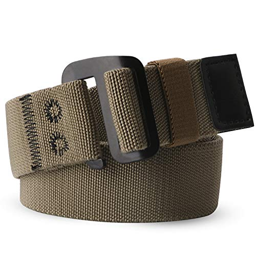 - Men's Elastic Stretch Nylon web Jeans Belt Outdoor Casual Belt with Solid Adjustable Buckle By JASGOOD (Fit Below 40Inch,Dark khaki)