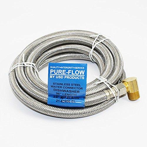 Universal Dishwasher 8' SS lnstallation Water Supply Line 90 Degree Plumbing ()