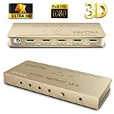 [Upgrade Version] HDMI Splitter SOWTECH 1X4 Ports Powered Video Converter with Full Ultra HD 1080P 4K/2K, 3D Resolutions and HDCP (1 Input to 4 Outputs) - Gold