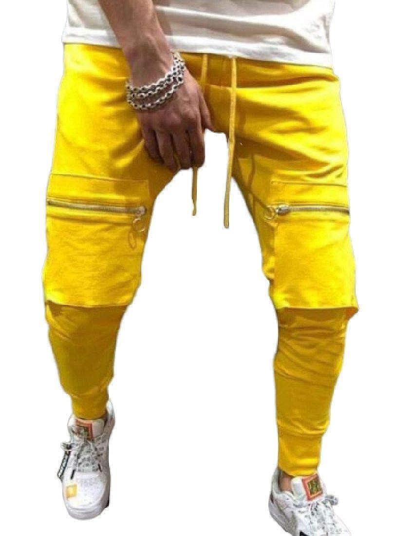 SHOWNO Mens Basic Zip-Up Elastic Waist Hip Hop Pockets Workout Long Pants