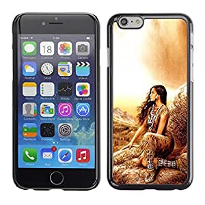 Design for Girls Plastic Cover Case FOR iPhone 6 Indian Girl Woman Native Outfit Brown Nature OBBA