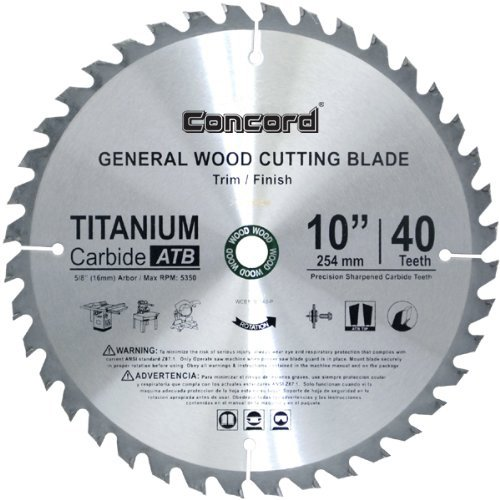 Concord Blades WCB1000T040HP 10-Inch 40 Teeth TCT General Purpose Hard & Soft Wood Saw Blade 40 Carbide Teeth Circular Saw