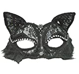 Himine 2 Pieces Masquerade Party Performances Lace Cat Girl Mask (Black)