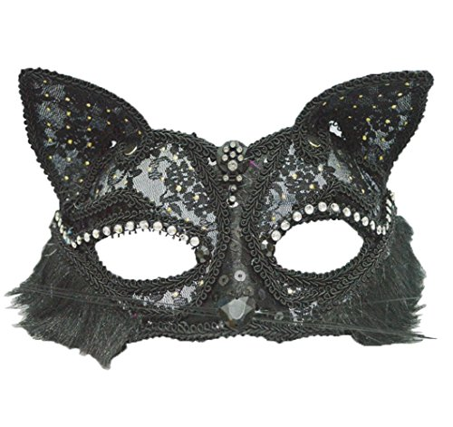 Himine 2 Pieces Masquerade Party Performances Lace Cat Girl Mask (Black) - Cat Masquerade Mask