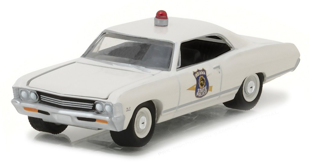 NEW 1 64 GREENLIGHT HOT PURSUIT SERIES 23 ASSORTMENT 1967 CHEVY IMPALA INDIANA STATE POLICE OFF WHITE Diecast Model Car By Greenlight