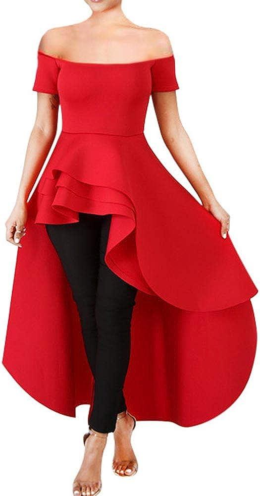 Fashion Elegant Asymmetrical Irregular Hem Ruffle Peplum Top Tunics Maxi Shirt Dress Womens High Low Dress