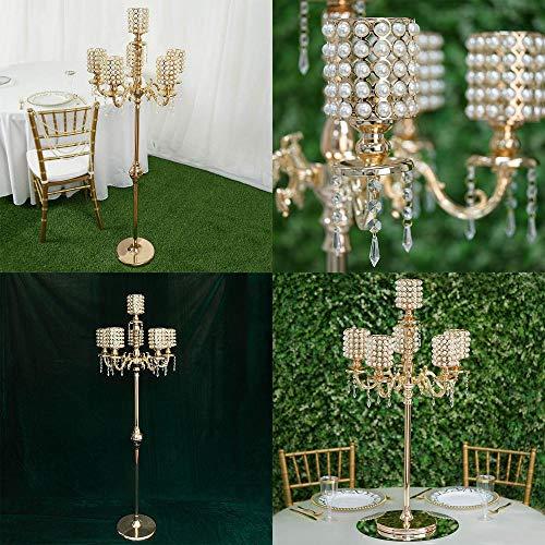 - Efavormart DIY Dual Use Gold Pearl Beaded Metal Floor Candelabra (56