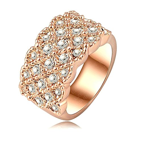 [Gnzoe Women Engagement Rings 18K Rose Gold Plated aphire Austrian Crystals US Size 6.5] (Paper Bag Princess Couples Costume)