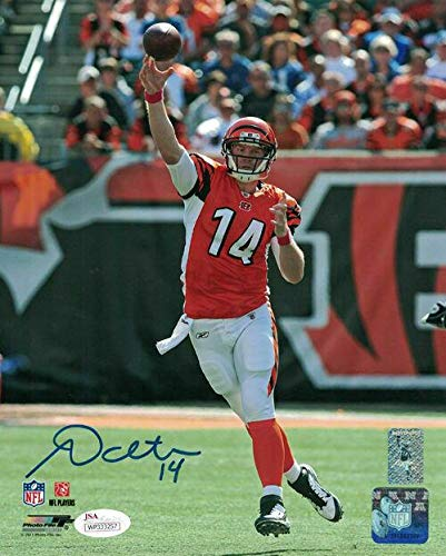 Andy Dalton Signed Photo - 8x10 passing 14123 - JSA Certified - Autographed NFL Photos